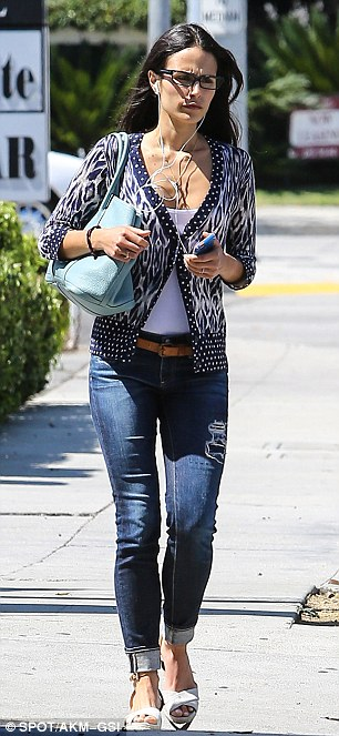Jordana wears jeans at wedge sandals to errands (left) and earlier that day in West Hollywood (right)