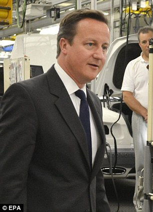 Settling the issue: David Cameron, pictured at the Bentley factory in Crewe, says a referendum would solve the EU issue for a generation