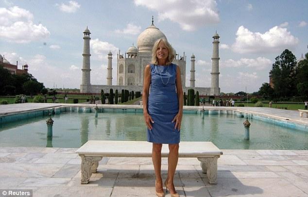 Wonder: U.S. Vice President Joe Biden's wife Jill Biden poses in front of the historic Taj Mahal in the northern Indian city of Agra on July 23