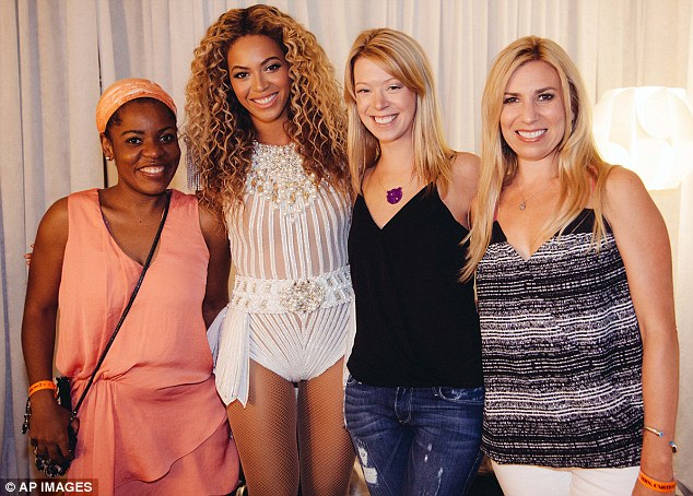 Road to recovery: Beyoncé met with brave Boston Marathon Bombing survivors Mery Daniel, Adrianne Haslet and Heather Abbott (from left) after her show at Boston's TD Garden that night