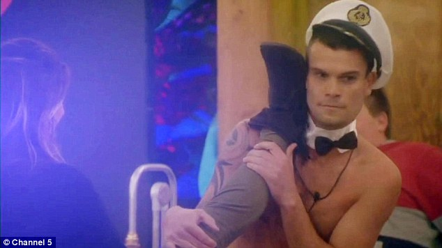 Charlie doesn't mind as Callum grabs one of her legs during last night's striptease