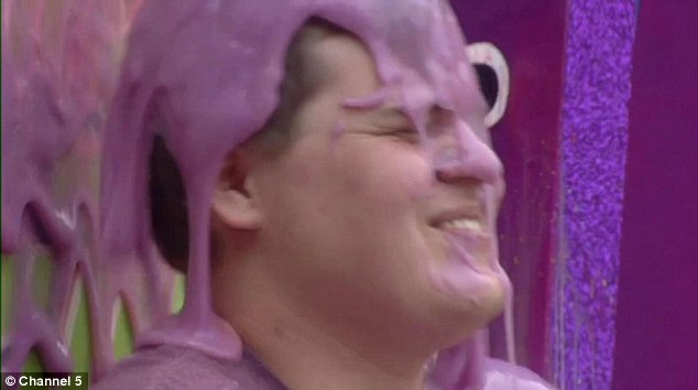 It's Joe's turn to take a gunge shower in the Big Brother garden on Tuesday