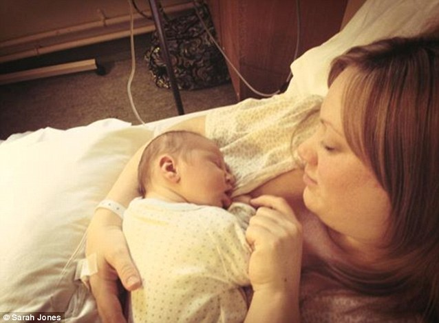 Sarah Jones and baby Elliott from Middlesbrough, born April 2 2013. 'Right then I was thinking that I was so lucky to have such a happy, healthy (and cute) little boy'