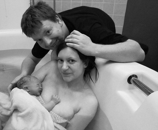 @whatkatydoes sent in this beautiful snap taken seconds after her son Henry was born on the January 15 2013, after a 'natural and very fast drug free labour!'