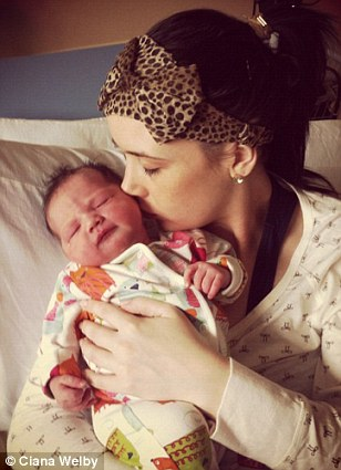 Ciana Welby with her little girl Callie Rae at just four hours old 'I was so in love. She's a year old now and just as cute'