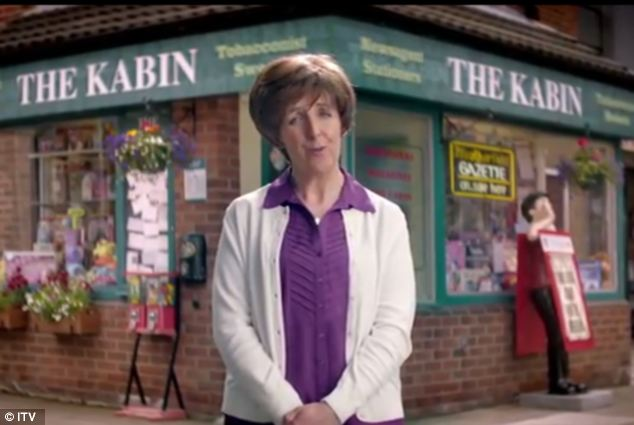 Recital: Mr Whiston said the channel felt it could use Shakespeare's Sonnet 18 to advertise the soaps as they were both 'at their peak'. Pictured is Hayley Cropper, played by Julie Hesmondhalgh, in the advert