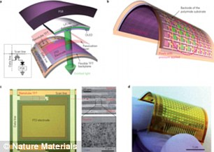 Samples of the e-skin are 16x16 pixels and each pixel contains a transistors made from semiconductor carbon nanotubes, organic light emitting diodes, and a pressure sensor