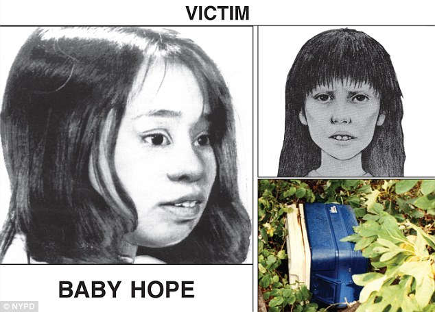 Missing: Police recently handed out this poster. The first picture is a current, age-progression sketch of Baby Hope, the second is the sketch released in 1991, and the third photo is of the cooler which the child was found inside