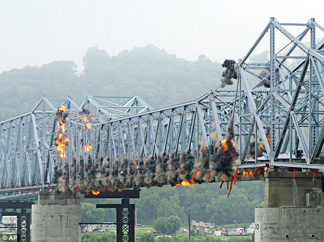 Charges on the 700-foot central span of the bridge, shortly before the explosions