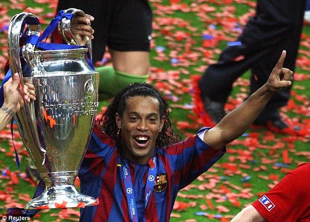 Champions League: Ronaldinho celebrates winning Europe's premier trophy with Barcelona in 2006