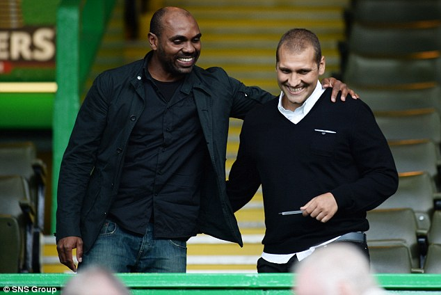 Former stars: Didier Agathe and Stiliyan Petrov were in the crowd for the 2-0 win