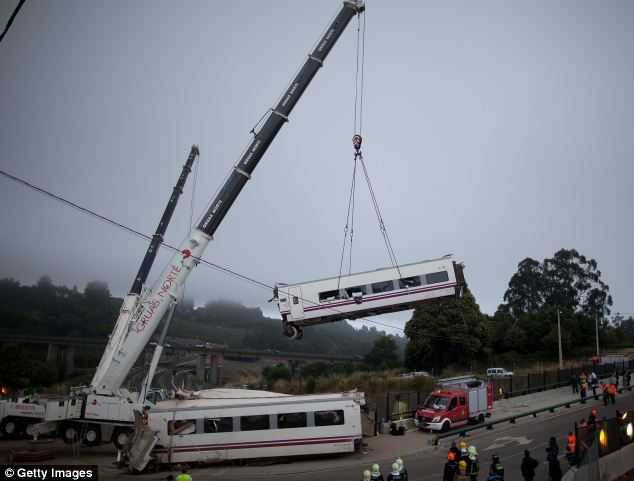 Removal: A carriage is lifted at the scene of a train crash