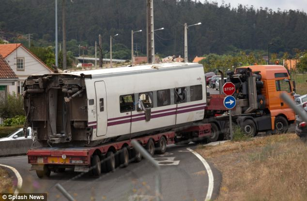 Wreckage: Part of the train is carried away following the horrific crash
