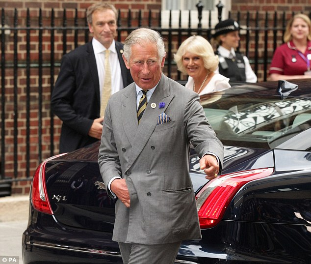 Later: The Prince of Wales and Duchess of Cornwall arrived at the Lindo Wing after the Middletons, in a Jag, not a cab