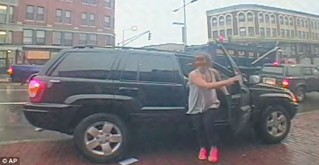Police have released this picture of Amy Lord, taken by one of the ATM surveillance cameras as she steps out of her black Jeep on Tuesday