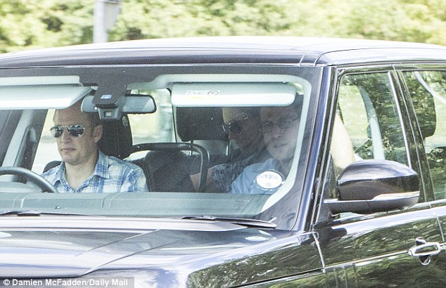 Back again: The couple spent a week at Bucklebury Manor shortly before Kate returned to London to give birth, and the Cambridges were back last night surrounded by police