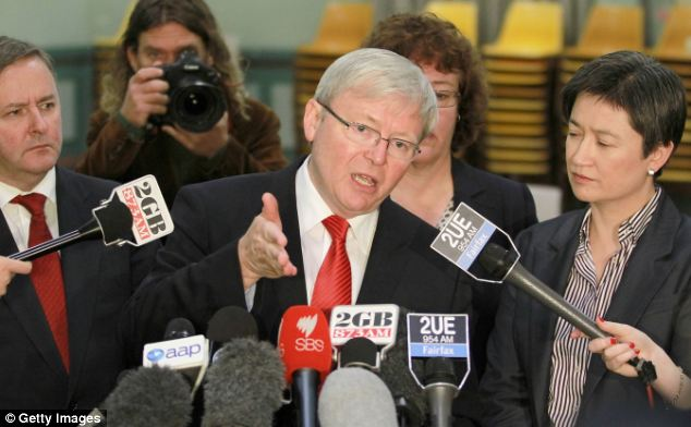 Assange says his party will fight to keep politicians like Australian Prime Minister Kevin Rudd (pictured) honest. He told his party: 'Canberra needs to be a place of light, not a place of darkness'