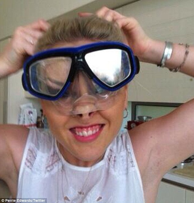 Perrie Edwards impersonates a pig in a new shot posted on micro-blogging site Twitter