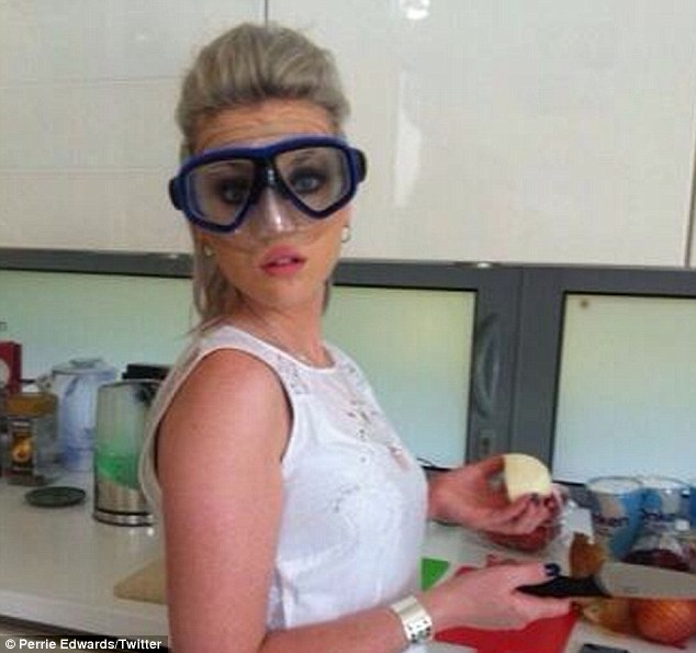 Here's one I made earlier: Perrie Edwards works her culinary magic in the kitchen...while wearing a snorkel