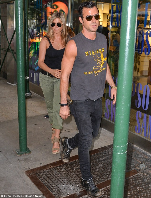 Love: Aniston has been making the most of spending time with her fiance Justin Theroux when not filming