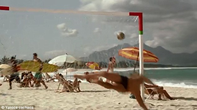An impossible shot: Travolta knocks the ball into the goal after ricocheting it off a coconut tree