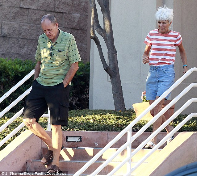 Concerned: Bynes' parents Lynn and Rick are seen leaving the medical center where she is believed to be hospitalized on a 5150 psychiatric hold