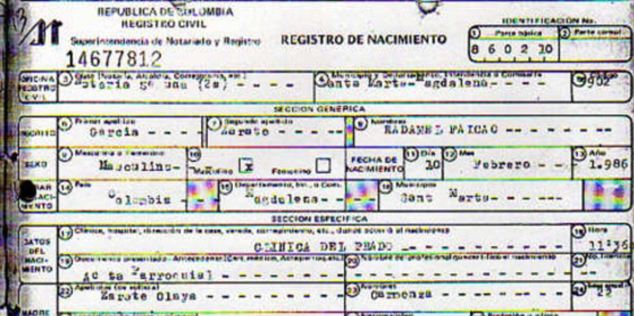 Paper trail: Colombian newspaper El Tiempo claim to have a copy of Falcao's 'actual' birth certificate, claiming that he is in fact 27, not 29