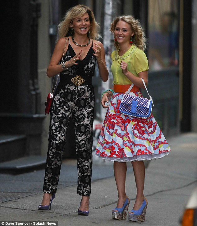 Dazzling debut: Lindsey Gort filmed first scenes as Carrie Bradshaw's sexy pal Samantha Jones with co-star AnnaSophia Robb for CW's The Carrie Diaries on Thursday