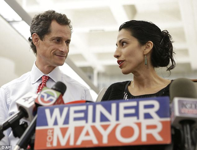 Supportive: In 2012, after her husband Anthony Weiner resigned from Congress, Abedin earned $135,000 from the State Department and $355,000 from her consulting work