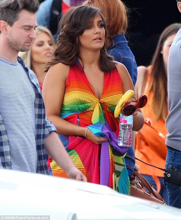 All things bright and beautiful: Frankie Sandford wore a bright dress as The Saturdays filmed their latest video