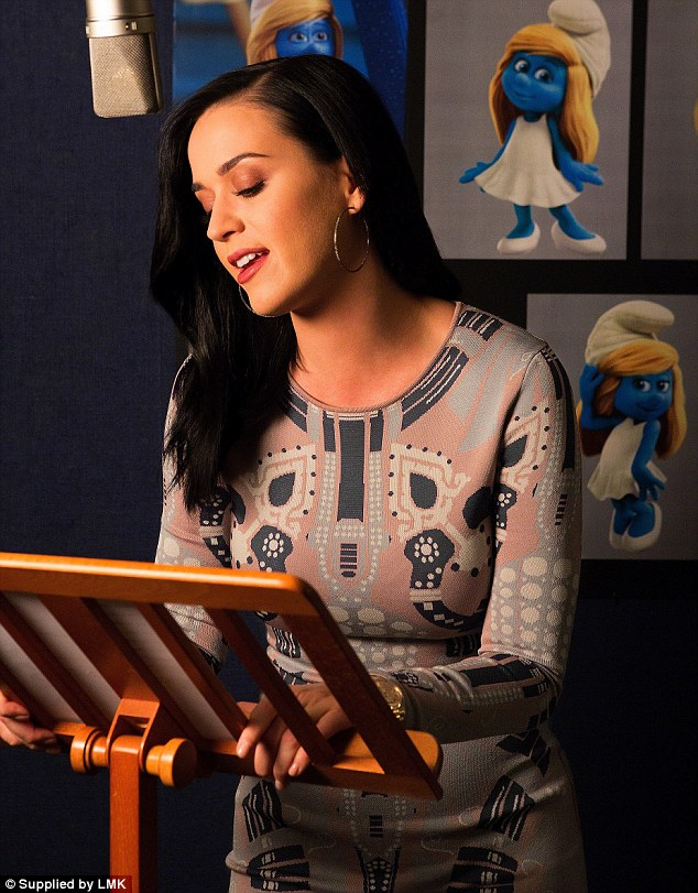 Keeping busy: Katy voices Smurfette in the new Smurfs movie