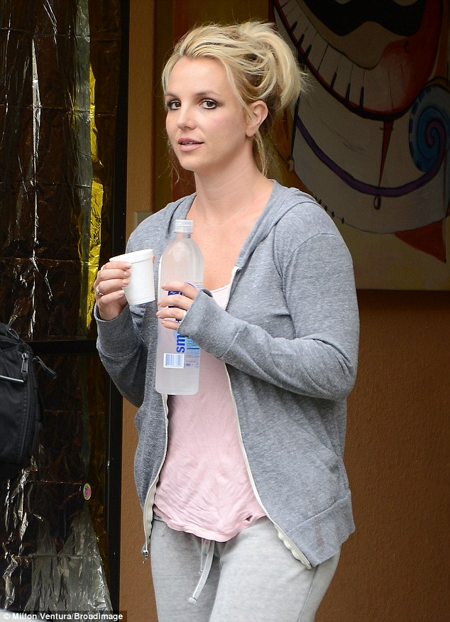 Water-logged: Britney Spears drank lots of water during a workout at the dance studio on Friday