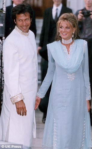 In the spotlight: Imran said his former wife Jemima, pictured together on their wedding day in 1995, called immediately after hearing the news