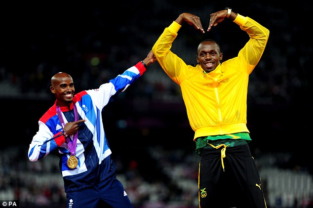 Iconic moment: Mo Farah and Usain Bolt strike each others' poses at London 2012