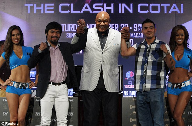 Famous face: George Foreman was at the press conference with Pacquiao and Rios