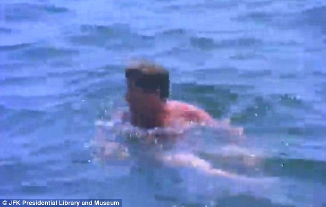 Dive in: John F. Kennedy swims in the sea over the last weekend of July in 1963