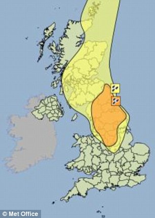 The Met Office has issued an 'amber warning' across the Midlands and north of England