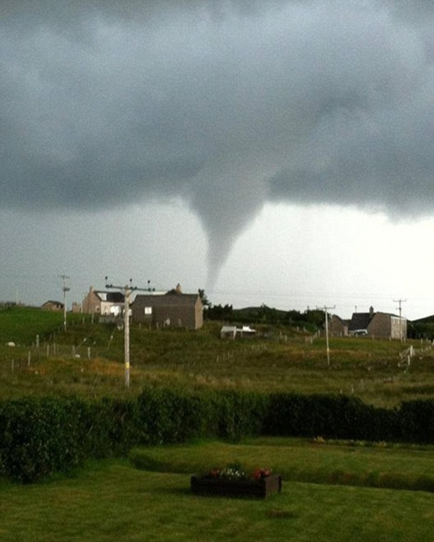 Twister: A tornado was spotted during storms which hit the Isle of Lewis in Scotland on Friday