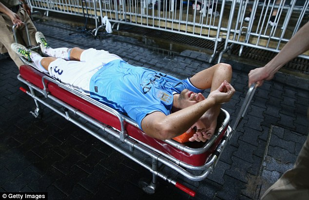 Blow: Matija Nastasic could miss the start of the season after being carried off against Sunderland