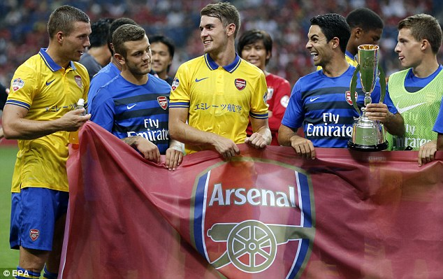 Busy tourists: Lukas Podolski, Jack Wilshere, Aaron Ramsey and Mikel Arteta are all Arsenal first-team regulars