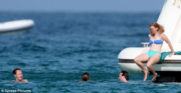 Beatrice decided to gently ease herself in to the sea rather than follow her boyfriend's lead