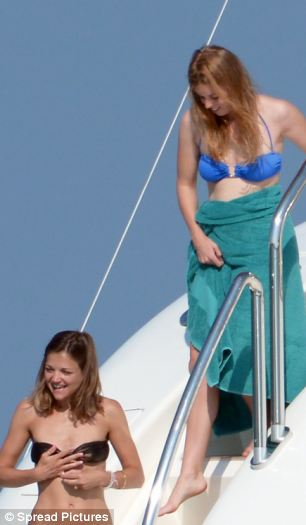 The couple were joined by their friends on the luxury yacht for a break