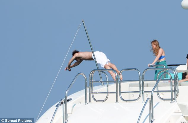 Dave dived into the Riviera from the boatdeck while Beatrice looked on and decided against doing the same