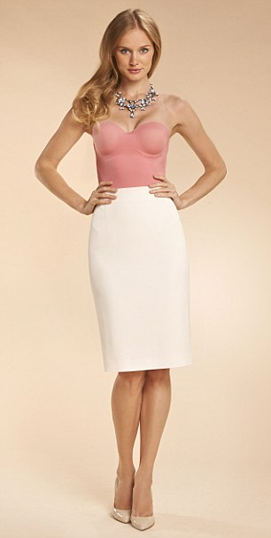 Body, £62.50, wolfordshop.co.uk, Skirt, £70, kaliko.co.uk, Necklace, £19.99, zara.com, Heels, £165, russell andbromley.co.uk