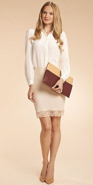 Shirt, £110, reiss.com, Skirt, £16, debenhams.com, Clutch, £59.99,  zara.com, Shoes, £95, inewest.co.uk