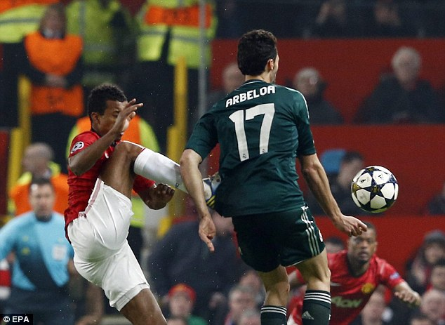 Accidental: He challenged Alvaro Arbeloa at Old Trafford with a high boot