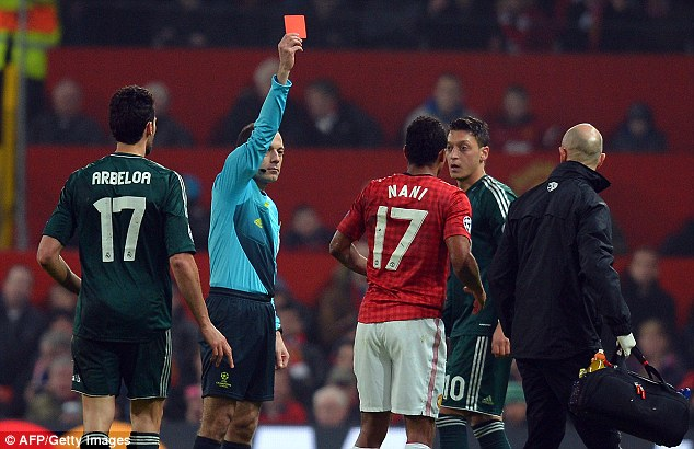 Champions League: Nani's most famous act from last season was being shown a red card against Real Madrid