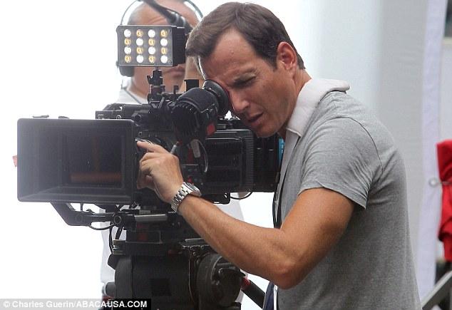 Lights, camera, action! Arnett filming a scene on the set of Teenage Mutant Ninja Turtles in New York last week