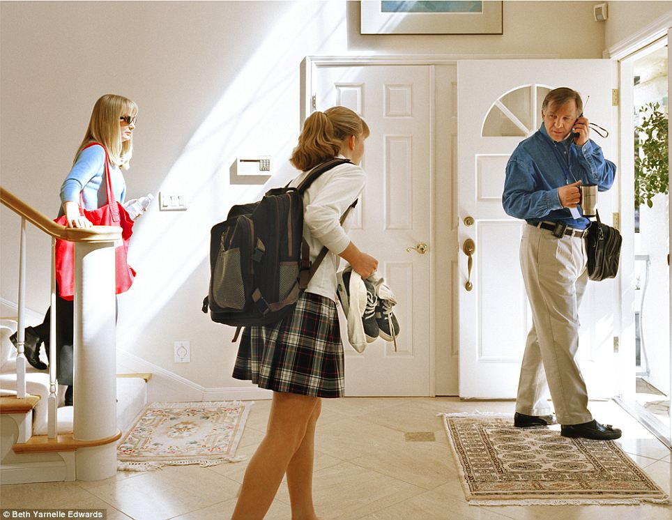 'John': Morning rush hour as this family heads for the door