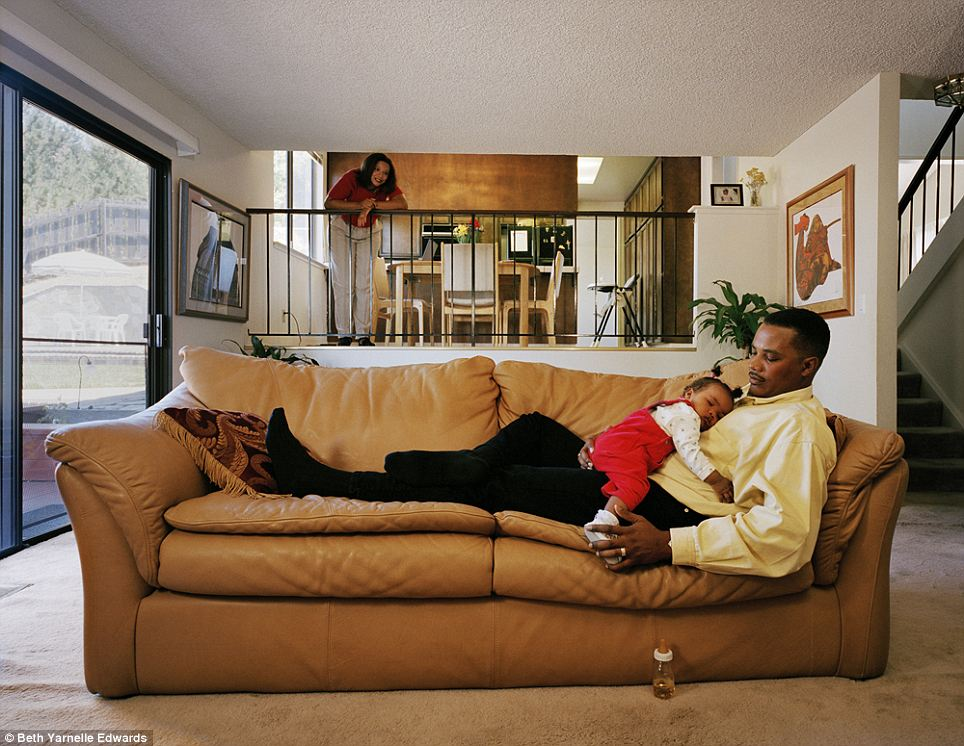 Calm: A young family enjoy some peaceful time with a sleeping toddler